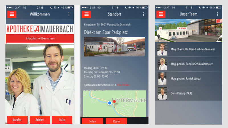 App Screen Apotheke Mauerbach